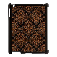 DAMASK1 BLACK MARBLE & RUSTED METAL (R) Apple iPad 3/4 Case (Black)