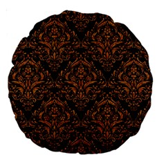 DAMASK1 BLACK MARBLE & RUSTED METAL (R) Large 18  Premium Round Cushions