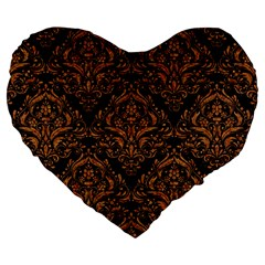 DAMASK1 BLACK MARBLE & RUSTED METAL (R) Large 19  Premium Heart Shape Cushions