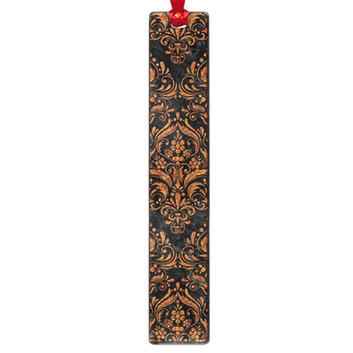 DAMASK1 BLACK MARBLE & RUSTED METAL (R) Large Book Marks