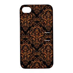 DAMASK1 BLACK MARBLE & RUSTED METAL (R) Apple iPhone 4/4S Hardshell Case with Stand