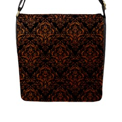DAMASK1 BLACK MARBLE & RUSTED METAL (R) Flap Messenger Bag (L)