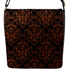 DAMASK1 BLACK MARBLE & RUSTED METAL (R) Flap Messenger Bag (S)
