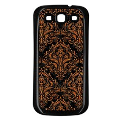 DAMASK1 BLACK MARBLE & RUSTED METAL (R) Samsung Galaxy S3 Back Case (Black)