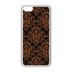 DAMASK1 BLACK MARBLE & RUSTED METAL (R) Apple iPhone 5C Seamless Case (White)