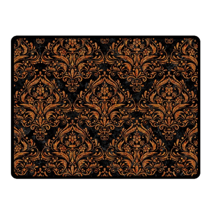 DAMASK1 BLACK MARBLE & RUSTED METAL (R) Double Sided Fleece Blanket (Small)