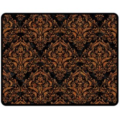 DAMASK1 BLACK MARBLE & RUSTED METAL (R) Double Sided Fleece Blanket (Medium)