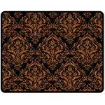 DAMASK1 BLACK MARBLE & RUSTED METAL (R) Double Sided Fleece Blanket (Medium)  58.8 x47.4 Blanket Back
