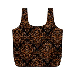 DAMASK1 BLACK MARBLE & RUSTED METAL (R) Full Print Recycle Bags (M)