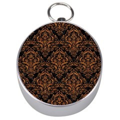 DAMASK1 BLACK MARBLE & RUSTED METAL (R) Silver Compasses