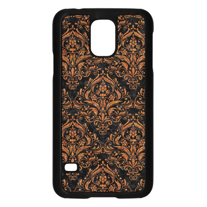 DAMASK1 BLACK MARBLE & RUSTED METAL (R) Samsung Galaxy S5 Case (Black)