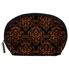 DAMASK1 BLACK MARBLE & RUSTED METAL (R) Accessory Pouches (Large)