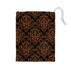 DAMASK1 BLACK MARBLE & RUSTED METAL (R) Drawstring Pouches (Large)