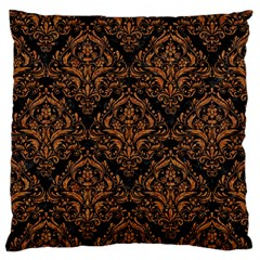 DAMASK1 BLACK MARBLE & RUSTED METAL (R) Large Flano Cushion Case (Two Sides)