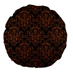 DAMASK1 BLACK MARBLE & RUSTED METAL (R) Large 18  Premium Flano Round Cushions