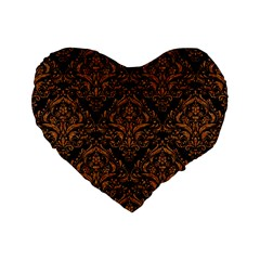 DAMASK1 BLACK MARBLE & RUSTED METAL (R) Standard 16  Premium Flano Heart Shape Cushions