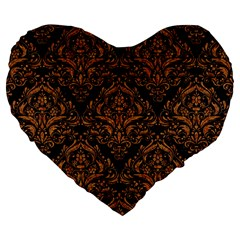 DAMASK1 BLACK MARBLE & RUSTED METAL (R) Large 19  Premium Flano Heart Shape Cushions