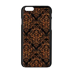 DAMASK1 BLACK MARBLE & RUSTED METAL (R) Apple iPhone 6/6S Black Enamel Case