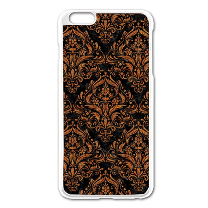 DAMASK1 BLACK MARBLE & RUSTED METAL (R) Apple iPhone 6 Plus/6S Plus Enamel White Case