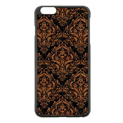 DAMASK1 BLACK MARBLE & RUSTED METAL (R) Apple iPhone 6 Plus/6S Plus Black Enamel Case