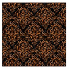 DAMASK1 BLACK MARBLE & RUSTED METAL (R) Large Satin Scarf (Square)