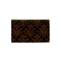 DAMASK1 BLACK MARBLE & RUSTED METAL (R) Cosmetic Bag (XS)