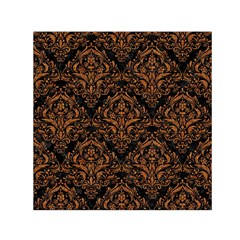 DAMASK1 BLACK MARBLE & RUSTED METAL (R) Small Satin Scarf (Square)