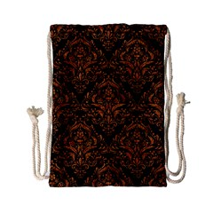 DAMASK1 BLACK MARBLE & RUSTED METAL (R) Drawstring Bag (Small)