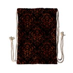 DAMASK1 BLACK MARBLE & RUSTED METAL (R) Drawstring Bag (Small) Front