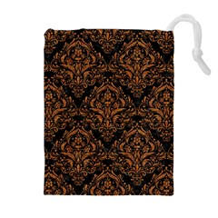 DAMASK1 BLACK MARBLE & RUSTED METAL (R) Drawstring Pouches (Extra Large)