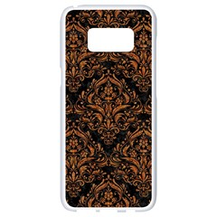 DAMASK1 BLACK MARBLE & RUSTED METAL (R) Samsung Galaxy S8 White Seamless Case