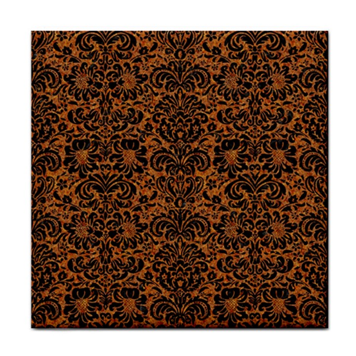 DAMASK2 BLACK MARBLE & RUSTED METAL Tile Coasters