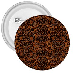 Damask2 Black Marble & Rusted Metal 3  Buttons by trendistuff