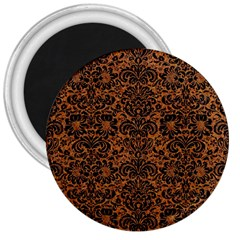Damask2 Black Marble & Rusted Metal 3  Magnets by trendistuff