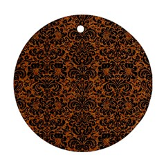 DAMASK2 BLACK MARBLE & RUSTED METAL Ornament (Round)