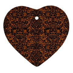 DAMASK2 BLACK MARBLE & RUSTED METAL Ornament (Heart)