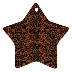 DAMASK2 BLACK MARBLE & RUSTED METAL Ornament (Star)