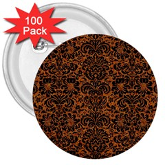 Damask2 Black Marble & Rusted Metal 3  Buttons (100 Pack)  by trendistuff