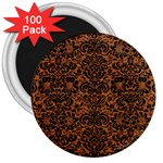 DAMASK2 BLACK MARBLE & RUSTED METAL 3  Magnets (100 pack) Front