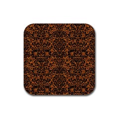 Damask2 Black Marble & Rusted Metal Rubber Square Coaster (4 Pack)  by trendistuff