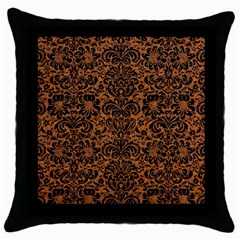 DAMASK2 BLACK MARBLE & RUSTED METAL Throw Pillow Case (Black)