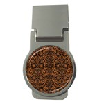 DAMASK2 BLACK MARBLE & RUSTED METAL Money Clips (Round)  Front