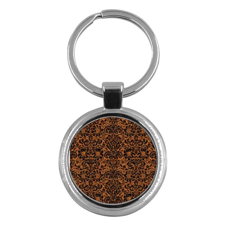 DAMASK2 BLACK MARBLE & RUSTED METAL Key Chains (Round)