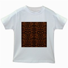 Damask2 Black Marble & Rusted Metal Kids White T Shirts by trendistuff