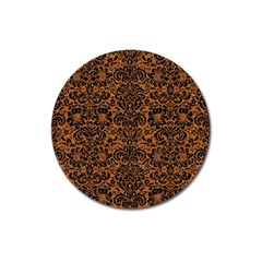 DAMASK2 BLACK MARBLE & RUSTED METAL Magnet 3  (Round)