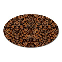 Damask2 Black Marble & Rusted Metal Oval Magnet by trendistuff
