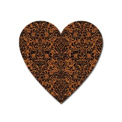 Damask2 Black Marble & Rusted Metal Heart Magnet by trendistuff