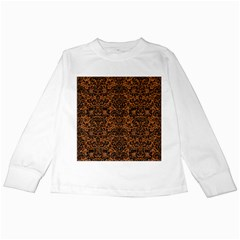 Damask2 Black Marble & Rusted Metal Kids Long Sleeve T Shirts