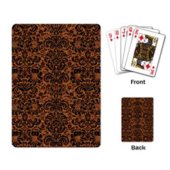 Damask2 Black Marble & Rusted Metal Playing Card
