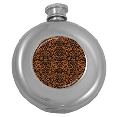 Damask2 Black Marble & Rusted Metal Round Hip Flask (5 Oz)